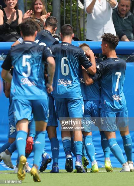 Samuele Ricci of Empoli FC U19 celebrates after scoring a goal during the Serie A Primavera match between Empoli U19 and Atalanta BC U19 on May 25...