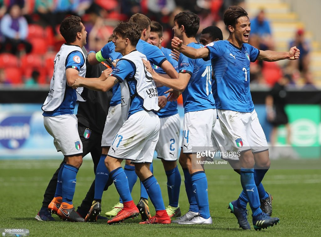 Samuele Ricci of Italy celebrates his teams win during the UEFA European Under-17 Championship Semi Final match between Italy and Belgium at the New York Stadium on May 17, 2018 in Rotherham, England.