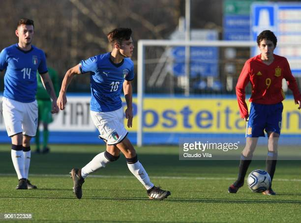 Samuele Ricci of Italy in action during the U17 International Friendly match between Italy and Spain at Juventus Center Vinovo on January 17 2018 in...