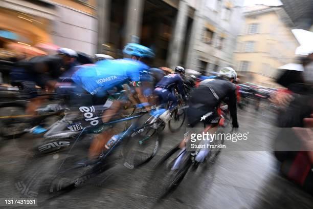 Samuele Rivi of Italy and EOLO-KOMETA Cycling Team & Bertjan Lindeman of Netherlands and Team Qhubeka Assos at start during the 104th Giro d'Italia...
