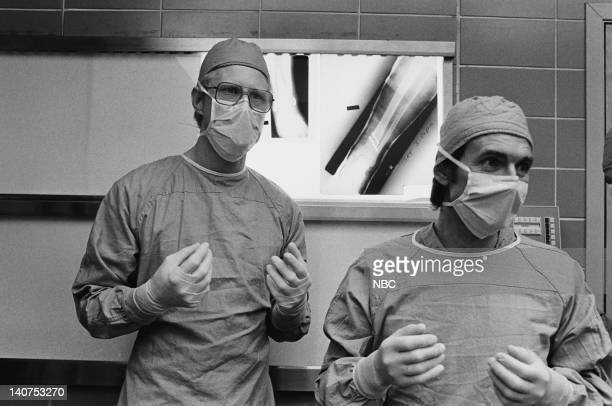 ST ELSEWHERE Samuels and the Kid Episode 5 Pictured Ed Begley Jr as Dr Victor Ehlrich David Birney as Dr Ben Samuels Photo by Gary Null/NBCU Photo...