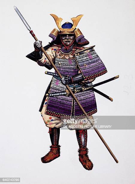 Samurai armed holding a spear with two swords in his belt drawing