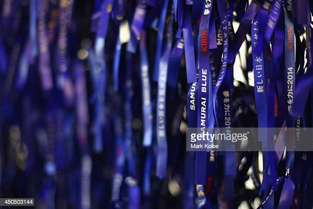 Samurai Blue support ribbons are seen for the Japan team at the Japan national team base camp at the Spa Sport Resort on June 12 2014 in Itu Sao Paulo