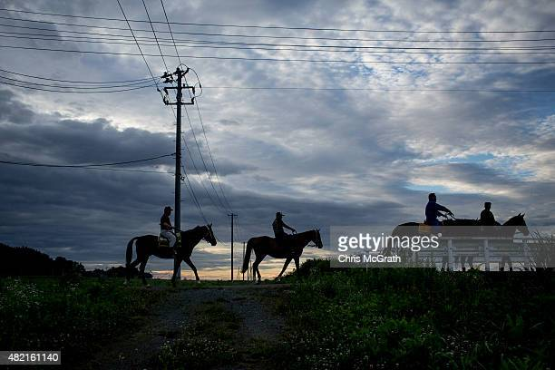 Samurai horsemen ride along a road during a training session ahead of participating in the Soma Nomaoi festival on July 24 2015 in Minamisoma Japan...