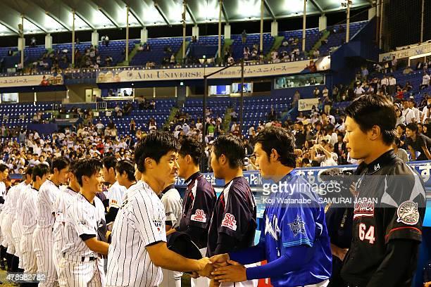 Samurai Japan Collegiate National Team and NPB AllStar Team shakes hands afters game in the Gwangju Summer Universiade Sendoff game between Samurai...