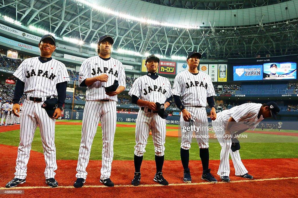 Samurai Japan team line up the game one of Samurai Japan and MLB All Stars at Kyocera Dome Osaka on November 12, 2014 in Osaka, Japan.