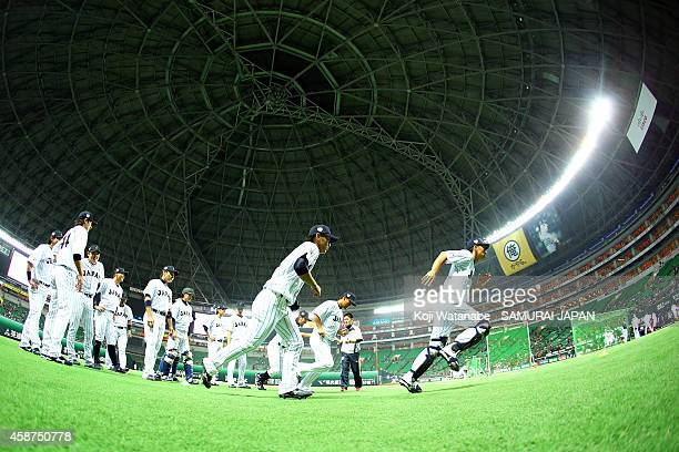 Samurai Japan Training during the friendly match between Samurai Japan and Fukuoka SoftBank Hawks Hokkaido Nipponham Fighters at Fukuoka Yahuoku Dome...