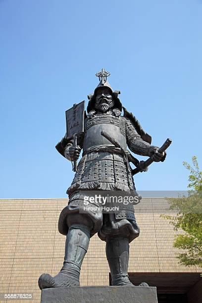 samurai statue tsugaru tamenobu hirosaki castle - hirosaki castle stock pictures, royalty-free photos & images