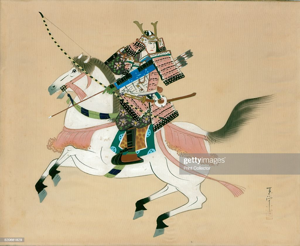 Samurai Warrior Riding A Horse Japanese Painting On Silk In Traditional