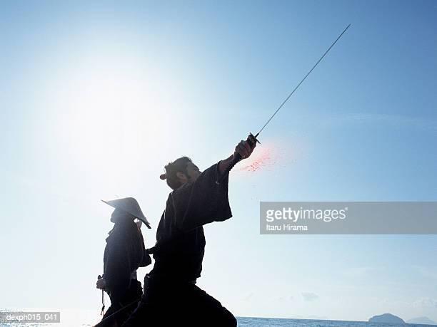 samurai warriors attacking each other - 決闘 ストックフォトと画像