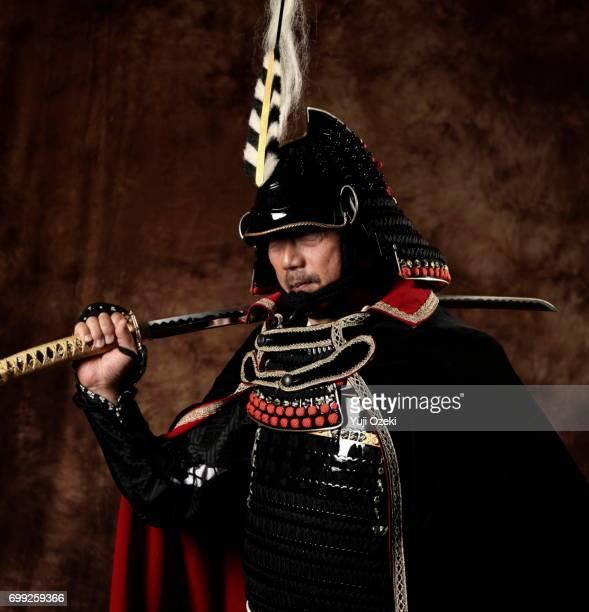 Samurai wearing armor and cloak