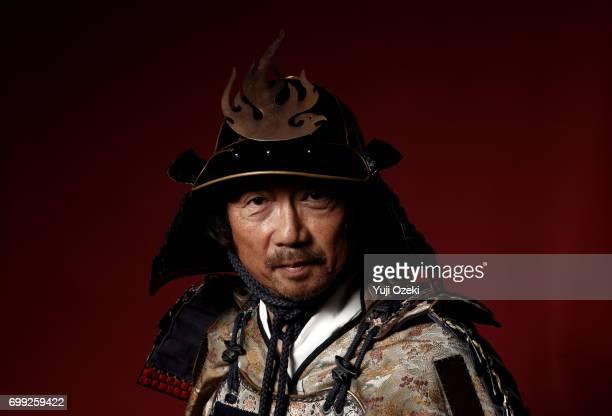 Samurai wearing armor helmet