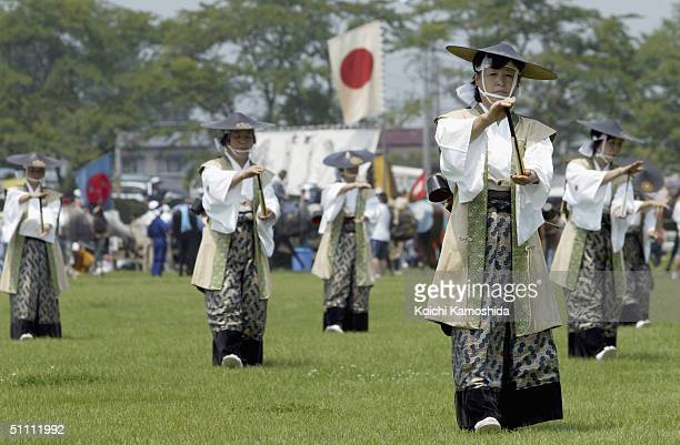Samurai women perform during opening ceremony of the Soma-Nomaoi festival on July 24, 2004 in Haramachi City, Fukushima Prefecture, Japan....