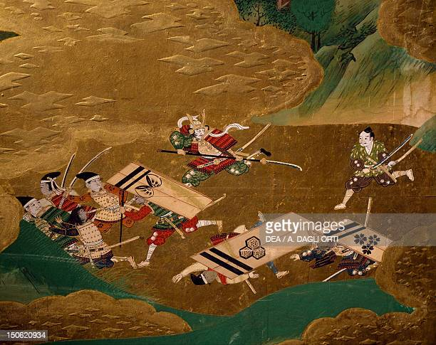 A samurai's enemies on the run detail from a byobu depicting scenes from the 12th century Gempei war Japan Tosa School Edo Period early 17th century