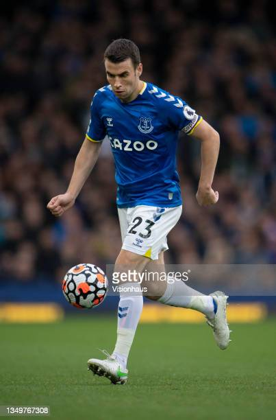 Séamus Coleman of Everton in action during the Premier League match between Everton and Watford at Goodison Park on October 23, 2021 in Liverpool,...