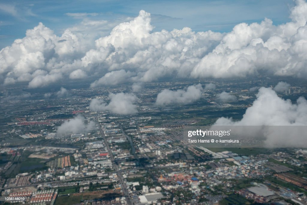 Samut Prakan province in Thailand daytime aerial view from airplane : Foto de stock