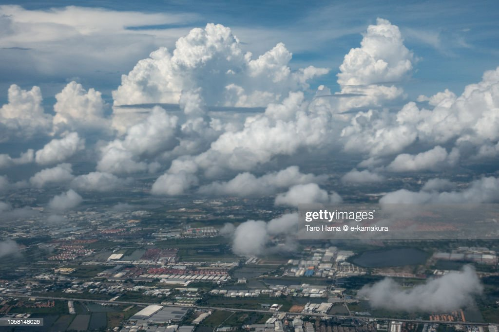 Samut Prakan province in Thailand daytime aerial view from airplane : Stock Photo
