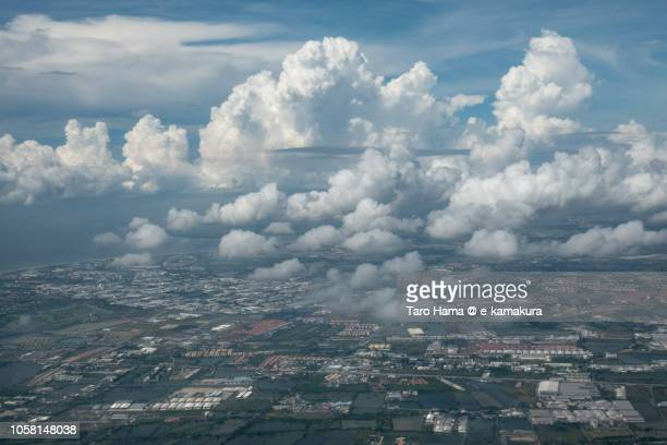 Samut Prakan province in Thailand daytime aerial view from airplane