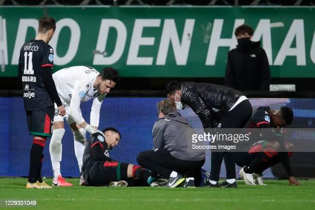 Samy Bourard of ADO Den Haag, Luuk Koopmans of ADO Den Haag Ravel Morrison of ADO Den Haag injury during the Dutch KNVB Beker match between ADO Den...