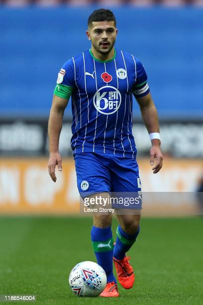 Samy Morsy of Wigan Athletic in possession during the Sky Bet Championship match between Wigan Athletic and Brentford at DW Stadium on November 09...