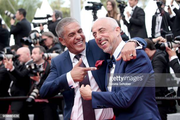 Samy Naceri and his brother Larbi Naceri attend the screening of 'The Wild Pear Tree ' during the 71st annual Cannes Film Festival at Palais des...