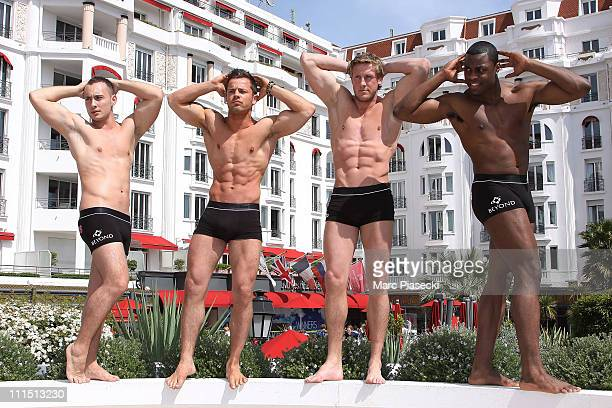 Samy Thompson Marc Burgum Jamie Spencer and Vaughan Bailey attend a photocall for 'The Hunks' during MIPTV 2011 at Hotel Majestic on April 4 2011 in...