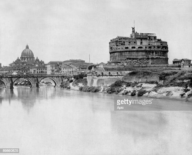 San Angelo castle and bridge over Tibre river, in the background : basilica Saint Peter in Rome, photo by John Lawson Stoddard