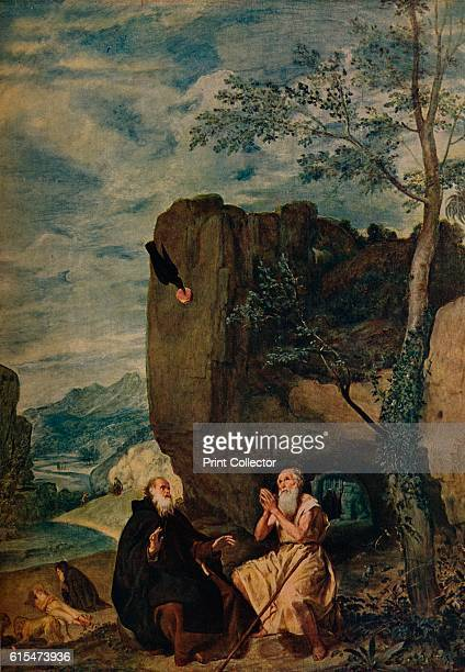 San Antonio Abad Visita A San Pablo', . San Antonio visits St Paul the hermit at his cave and recounts the Golden Legend, a crow with a loaf of bread...