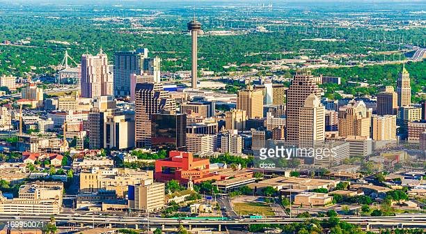 san antonio cityscape skyline aerial view from helicopter - san antonio texas stock photos and pictures