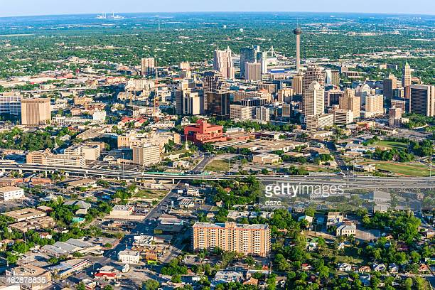 san antonio cityscape skyline aerial view - san antonio stock photos and pictures