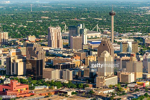 san antonio cityscape skyline aerial view - san antonio texas stock photos and pictures