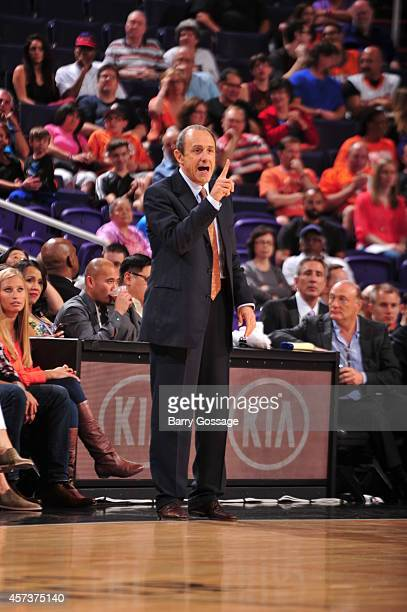 San Antonio coach Ettore Messina calls a play during a preseason game against the Phoenix Suns on October 16 2014 at US Airways Center in Phoenix...