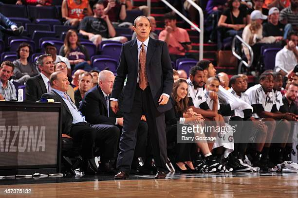 San Antonio coach Ettore Messina reacts during a preseason game against the Phoenix Suns on October 16 2014 at US Airways Center in Phoenix Arizona...