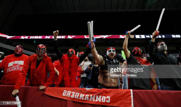 San Antonio Commanders fans cheer during an Alliance of American Football game against the Arizona Hotshots at the Alamodome on March 31 2019 in San...