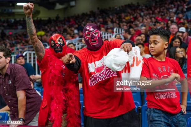 San Antonio Commanders fans cheer during the AAF game between the Salt Lake Stallions and the San Antonio Commanders on March 23, 2019 at the...