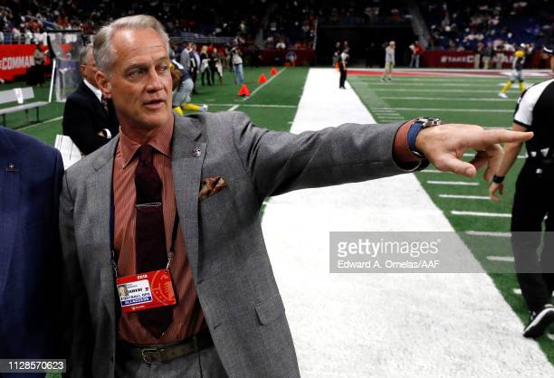 San Antonio Commanders General Manager Daryl Johnston gestures prior to an Alliance of American Football game between the San Diego Fleet and the San...