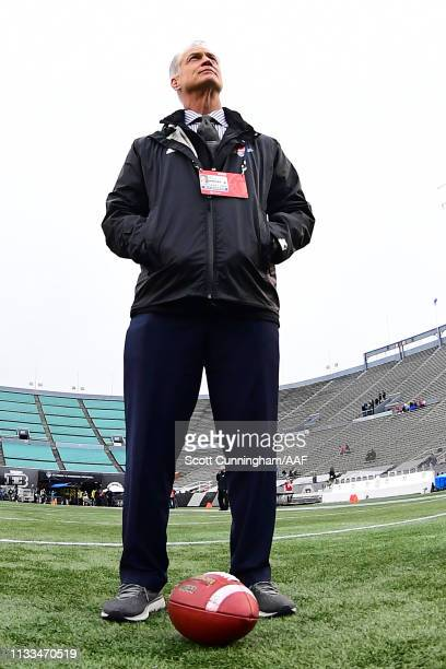 San Antonio Commanders general manager Daryl Johnston looks on before an Alliance of American Football game against the Birmingham Iron at Legion...