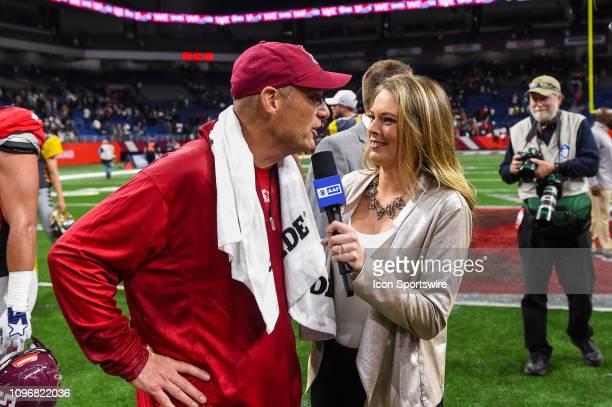 San Antonio Commanders head coach Mike Riley speaks with CBS sideline reporter Jamie Erdahl following the AAF game between the San Diego Fleet and...