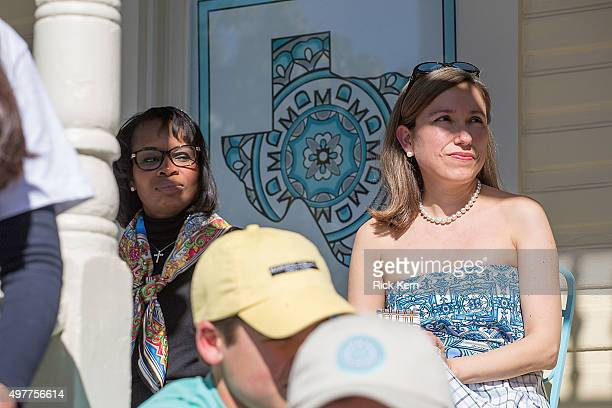 San Antonio Mayor Ivy R Taylor and designer Marisol Deluna attend the grand opening of Marisol Deluna New York Design Studio and Educational...