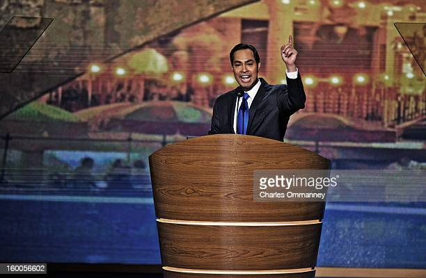 San Antonio Mayor Julian Castro addresses the Democratic National Convention at Time Warner Cable Arena on September 4 2012 in Charlotte North...