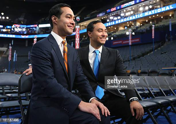 San Antonio Mayor Julian Castro and his brother State Rep Joaquin Castro give an interview during preparations for the Democratic National Convention...
