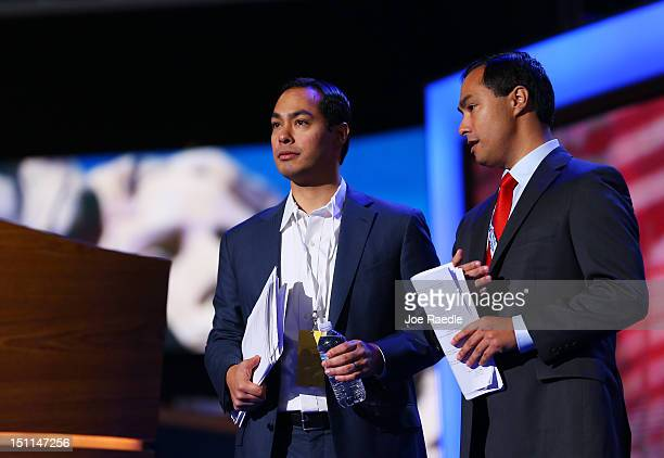 San Antonio Mayor Julian Castro stands on stage with his brother Joaquin Castro Texas House of Representative Democrat during preparations for the...