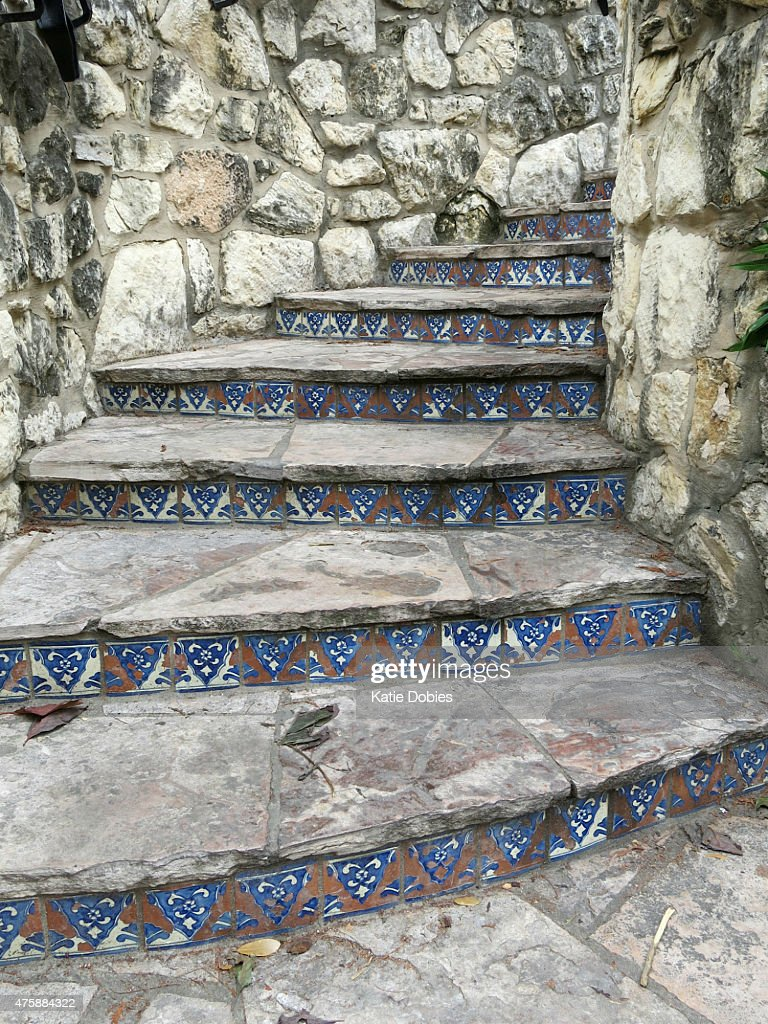 San Antonio Outdoor Rock Staircase With Mexican Tile Accents Stock Photo