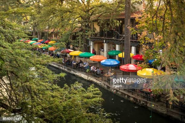 san antonio riverwalk canal - san antonio river walk stock photos and pictures