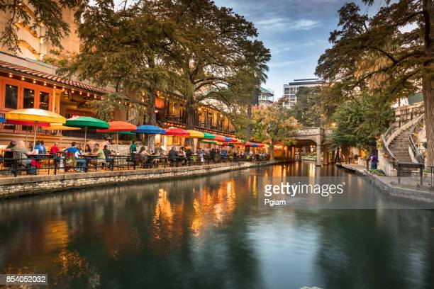san antonio riverwalk canal - san antonio stock photos and pictures