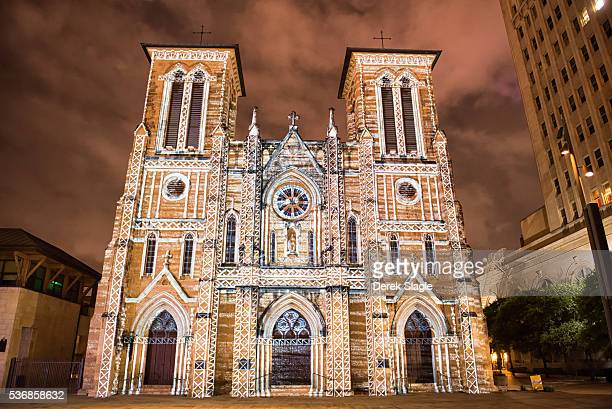 san antonio - san fernando mission light show at night - cathedral stock pictures, royalty-free photos & images