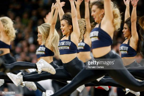 San Antonio Silver dancers perform during a timeout in game against the Phoenix Suns at ATT Center on January 05 2018 in San Antonio Texas NOTE TO...