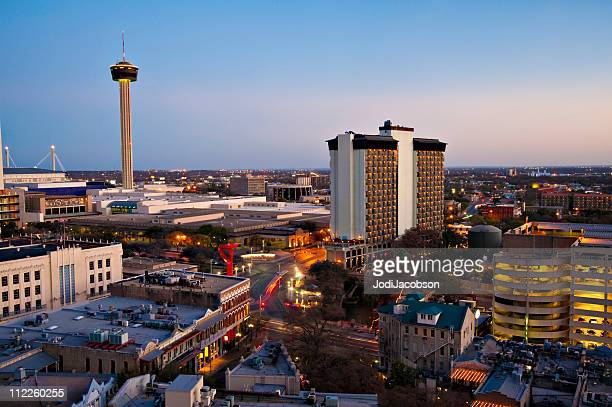 san antonio skyline aerial - san antonio texas stock photos and pictures
