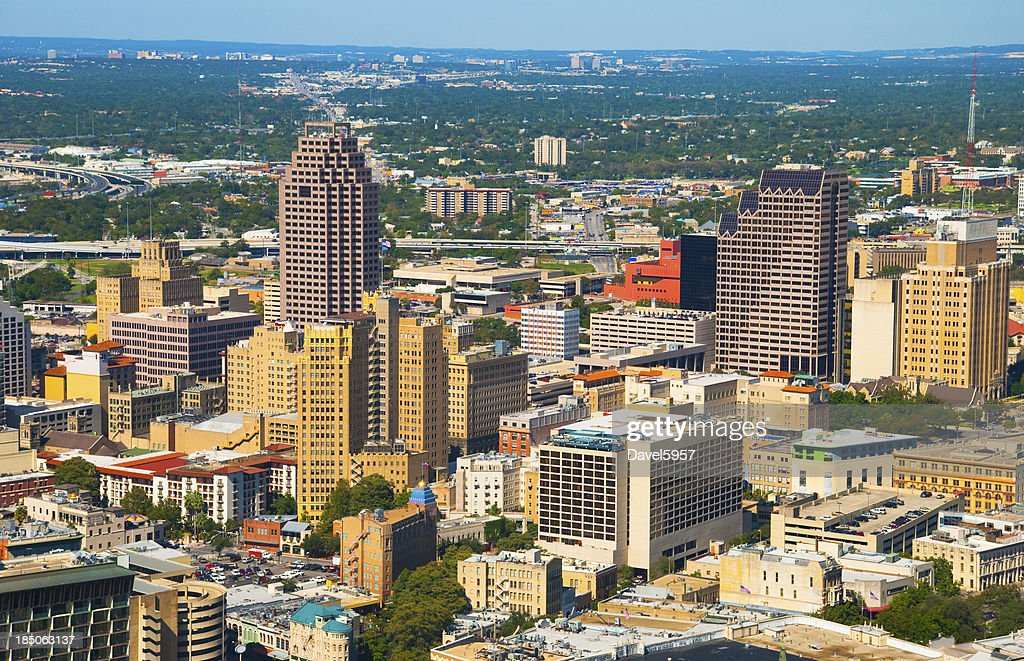 san antonio skyline aerial stock photo getty images. Black Bedroom Furniture Sets. Home Design Ideas