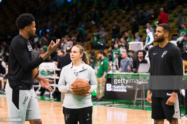 San Antonio Spurs assistant coach Becky Hammon works with Derrick White and Patty Mills during a pregame shoot around before a game against the...